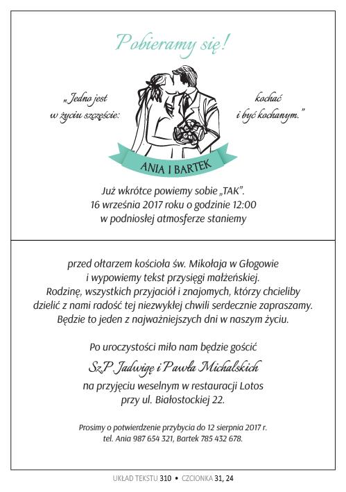 Zaproszenia ślubne Ze Wstążeczka 12mm