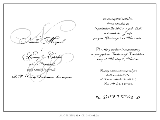 Zaproszenia ślubne Paski Ze Wstążeczką